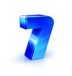 glossy blue seven 7 number 3d on vector image vector image