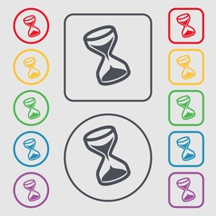 hourglass icon sign symbol on the Round and square vector image