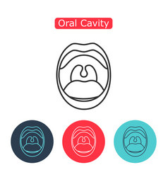 line icon mouth with teeth vector image vector image