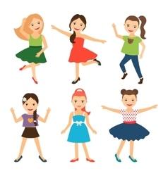 Little happy girl characters vector image