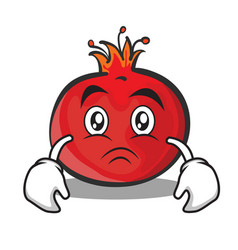 sad face pomegranate cartoon character style vector image vector image