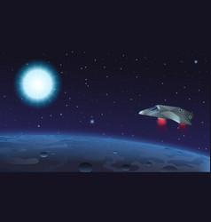 spaceship flying over alien vector image vector image