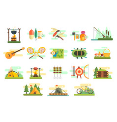 camping icons set hiking and fishing equipment vector image