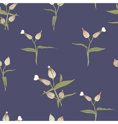 Floral seamless pattern on blue vector image vector image