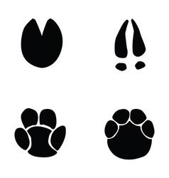horse hippopotamus deer elephant footprint vector image vector image