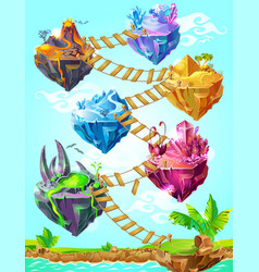 isometric colorful game islands template vector image vector image
