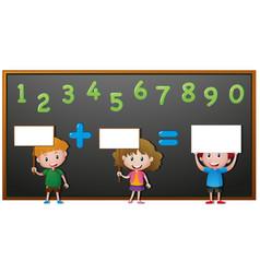 kids and numbers on blackboard vector image