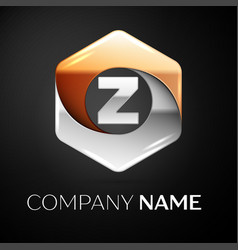 letter z logo symbol in the colorful hexagonal on vector image