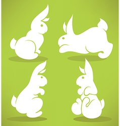 white rabbits vector image vector image