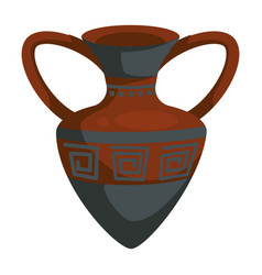 amphora ancient greek vase with ornament ceramic vector image