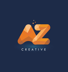 Az letter with origami triangles logo creative vector
