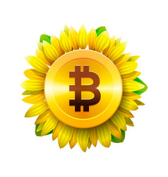 bitcoin flower concept virtual money vector image