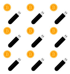 bitcoin storage seamless pattern vector image vector image
