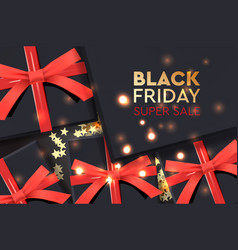 black friday super sale black gift box on dark vector image