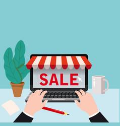 black open laptop with screen buy concept online vector image