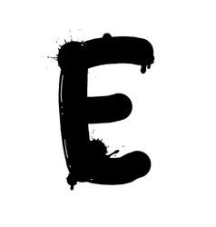 Blot letter e black and white vector