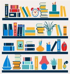 Bookshelf full of books vector