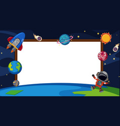 Border template with planets in space background vector
