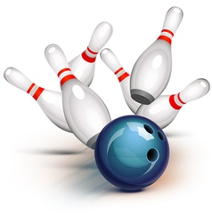 bowling ball crashing into pins vector image