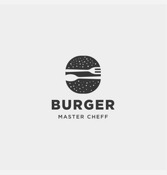 burger spoon fork simple flat logo design vector image