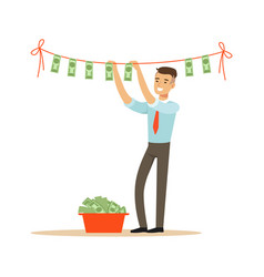 Businessman drying banknotes on clothesline vector
