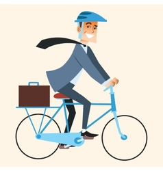 Businessman going to work in the office by bike vector