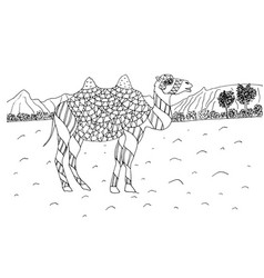 Camel in desert doodle coloring page vector