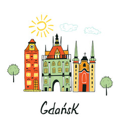 Card with medieval buildings in gdansk vector