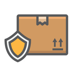 cardboard box protection filled outline icon vector image