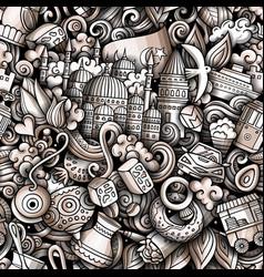 Cartoon doodles istanbul seamless pattern vector