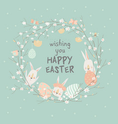cartoon easter wreath with cute rabbits and easter vector image