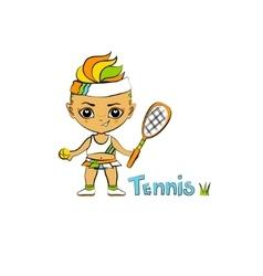 Cartoon Girl Tennis-Player vector