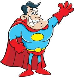 Cartoon super hero waving vector image