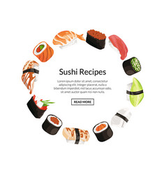 cartoon sushi elements circle concept vector image
