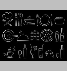 Chalk hand draw restaurant food icons set vector