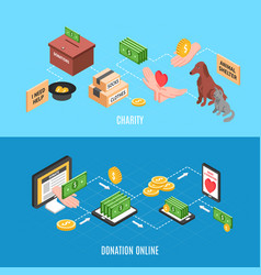 charity isometric banners vector image