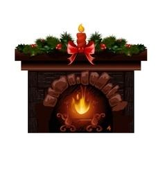 Christmas fireplace with fir vector
