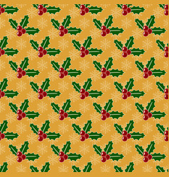 christmas pattern with mistletoe and snowflakes vector image