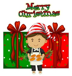 Christmas theme with chef and presents vector