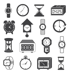 Clock and watch icons set vector