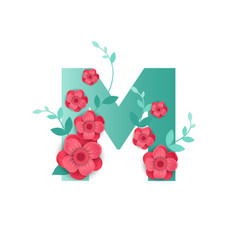 color letter m with beautiful flowers vector image