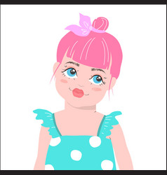 cute girl with pink hair cartoon vector image