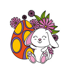 cute rabbit with easter egg painted in the garden vector image