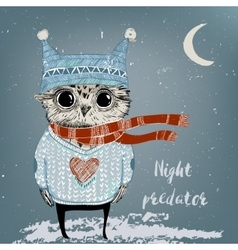 Cute winter owl vector