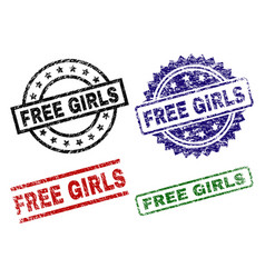 Damaged textured free girls seal stamps vector