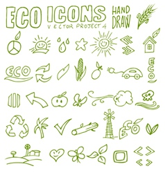 Eco icons hand draw 4 vector