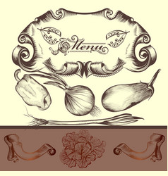 Elegant menu design with vegetables vector