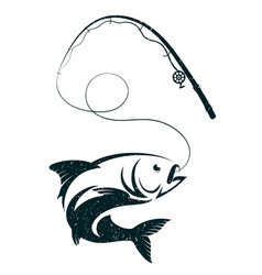 Fish on hook and fishing rod vector