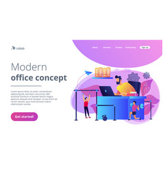 Fitness-focused workspace concept landing page vector