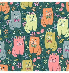 Funny kitten seamless pattern vector